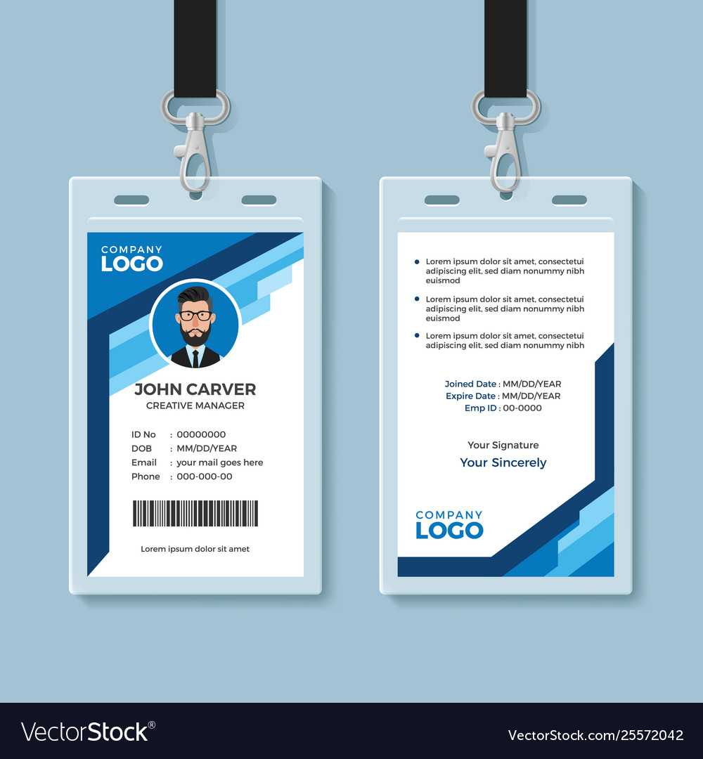 Blue Graphic Employee Id Card Template With Regard To Id Card Template Ai