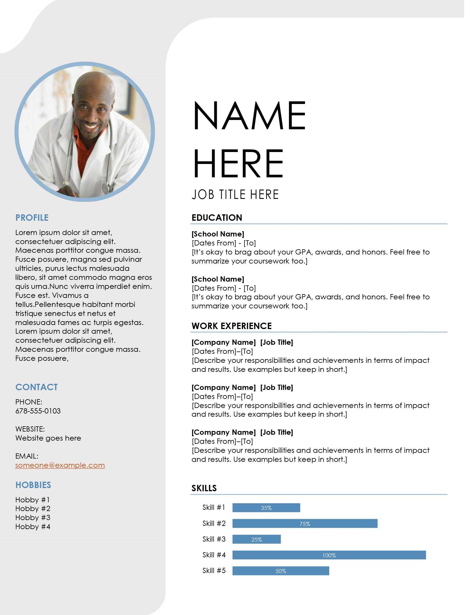 Blue Grey Resume With Regard To Microsoft Word Resume Template Free