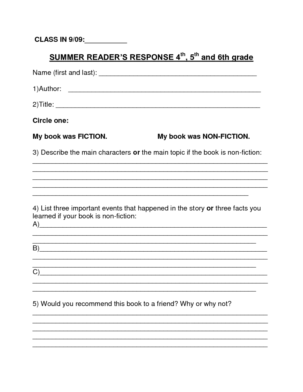 Book Report Template | Summer Book Report 4Th  6Th Grade Intended For 4Th Grade Book Report Template