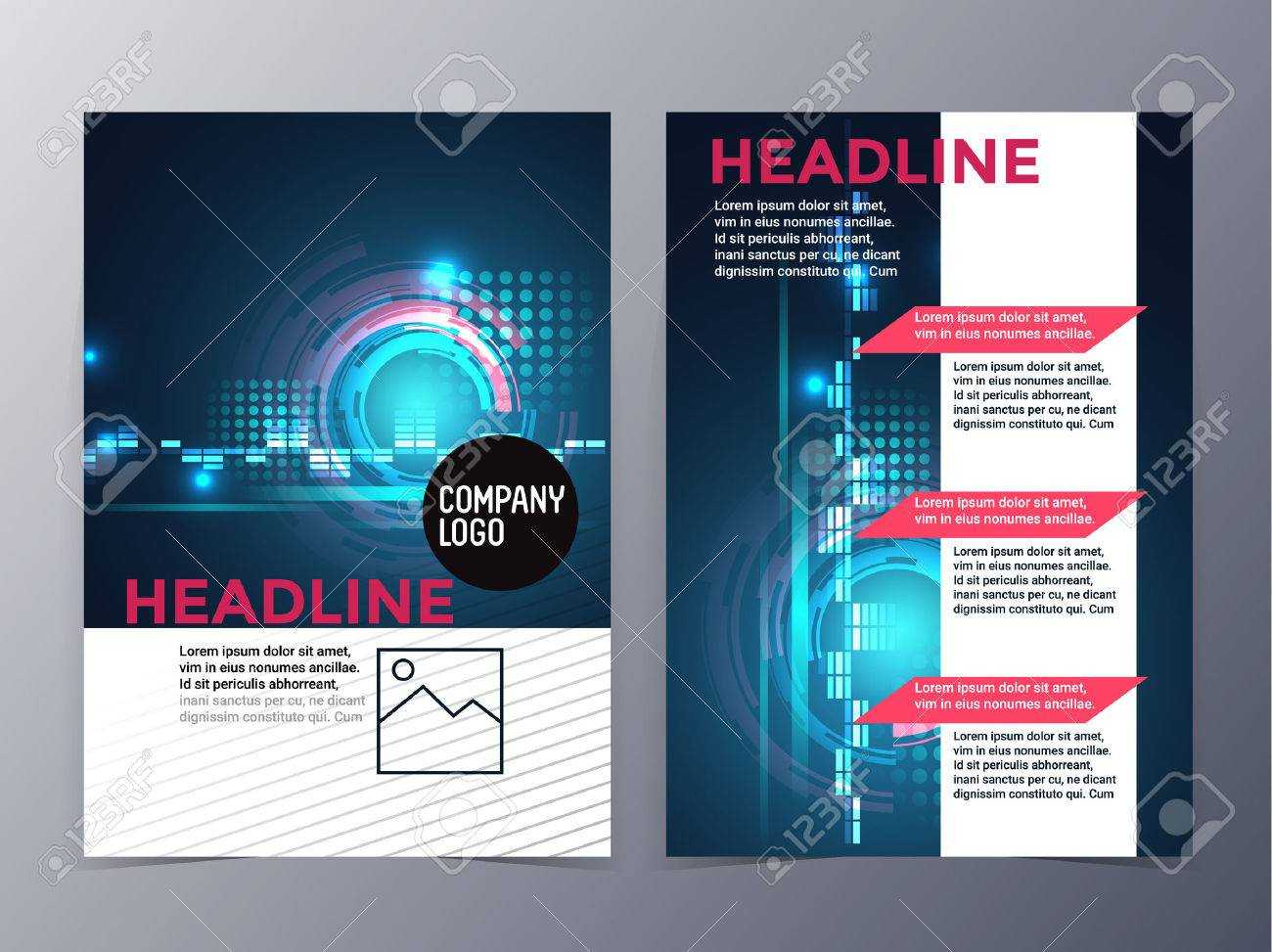 Business And Technology Brochure Design Template Vector Tri Fold.. Throughout Technical Brochure Template