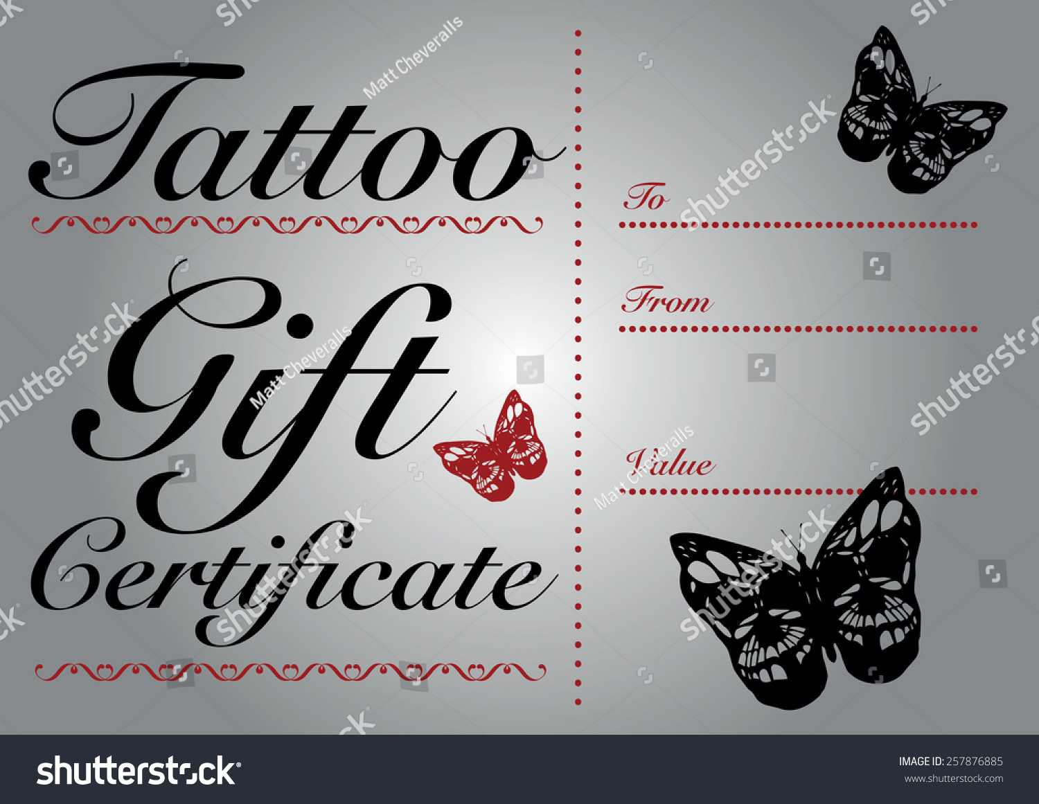 Butterfly Skull Tattoo Gift Card Gift Stock Vector (Royalty Inside Tattoo Gift Certificate Template