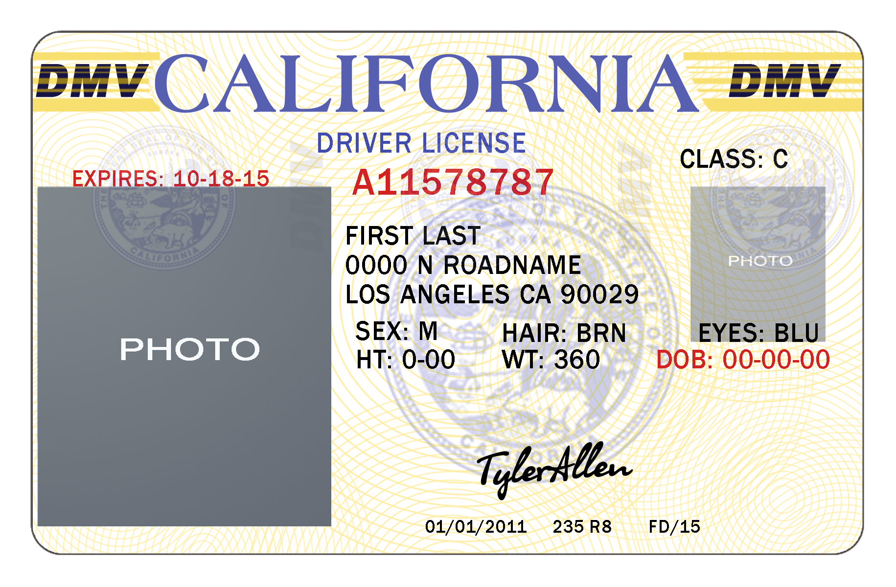 California Drivers License Template | California In 2019 With Blank Drivers License Template