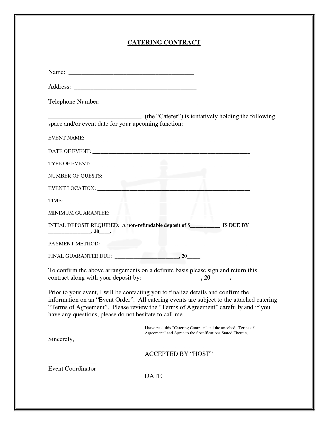 Catering Contract Catering Contract Name   Birthday Parties With Catering Contract Template Word
