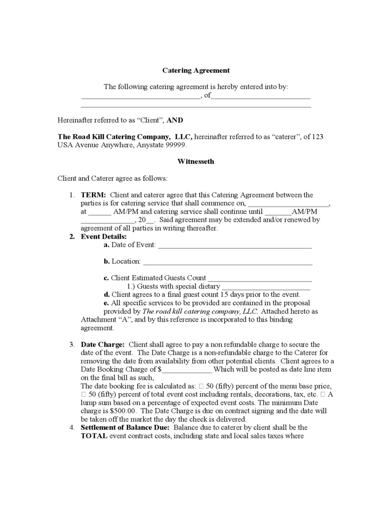 Catering Contract Template - 6 Free Templates In Pdf, Word Throughout Catering Contract Template Word