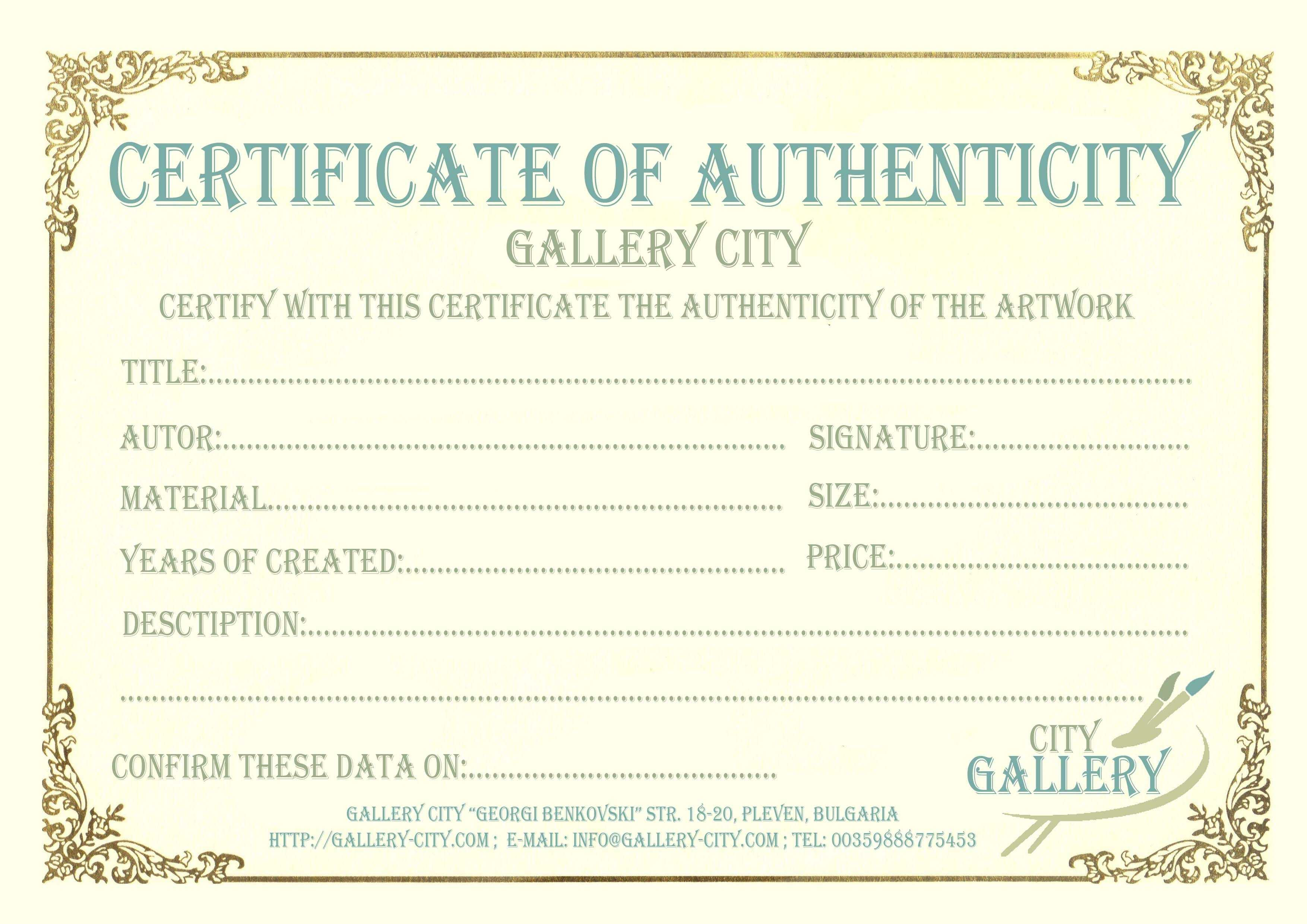 Certificate Authenticity Template Art Authenticity Throughout Art Certificate Template Free