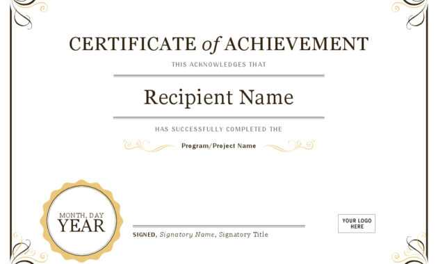 Certificate Of Achievement in Certificate Of Achievement Template Word