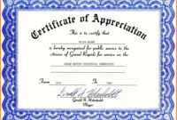 Certificate Of Appreciation Template Word Free Download With Certificate Templates For Word Free Downloads