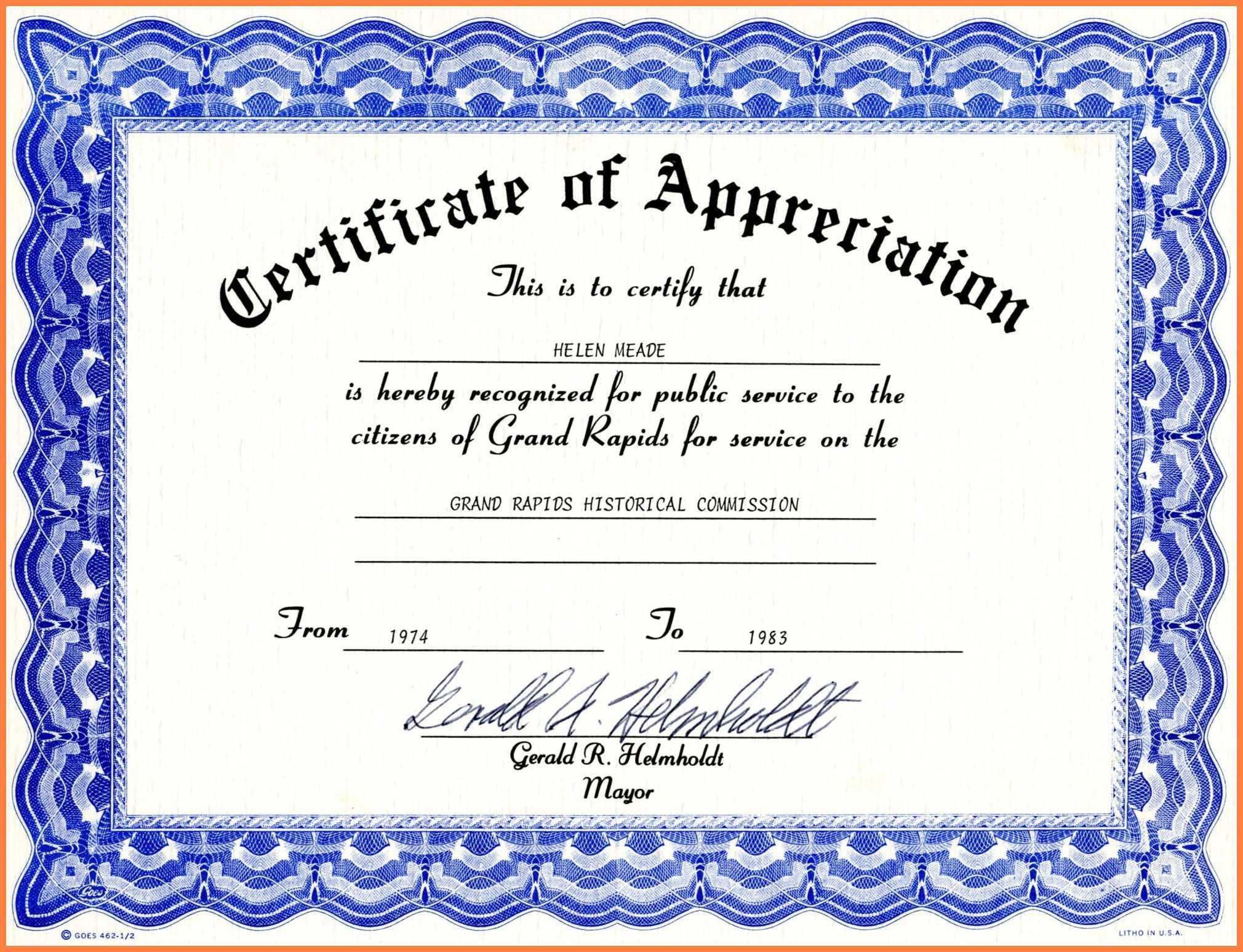 Certificate Of Appreciation Template Word Free Download With Certificate Templates For Word Free Downloads