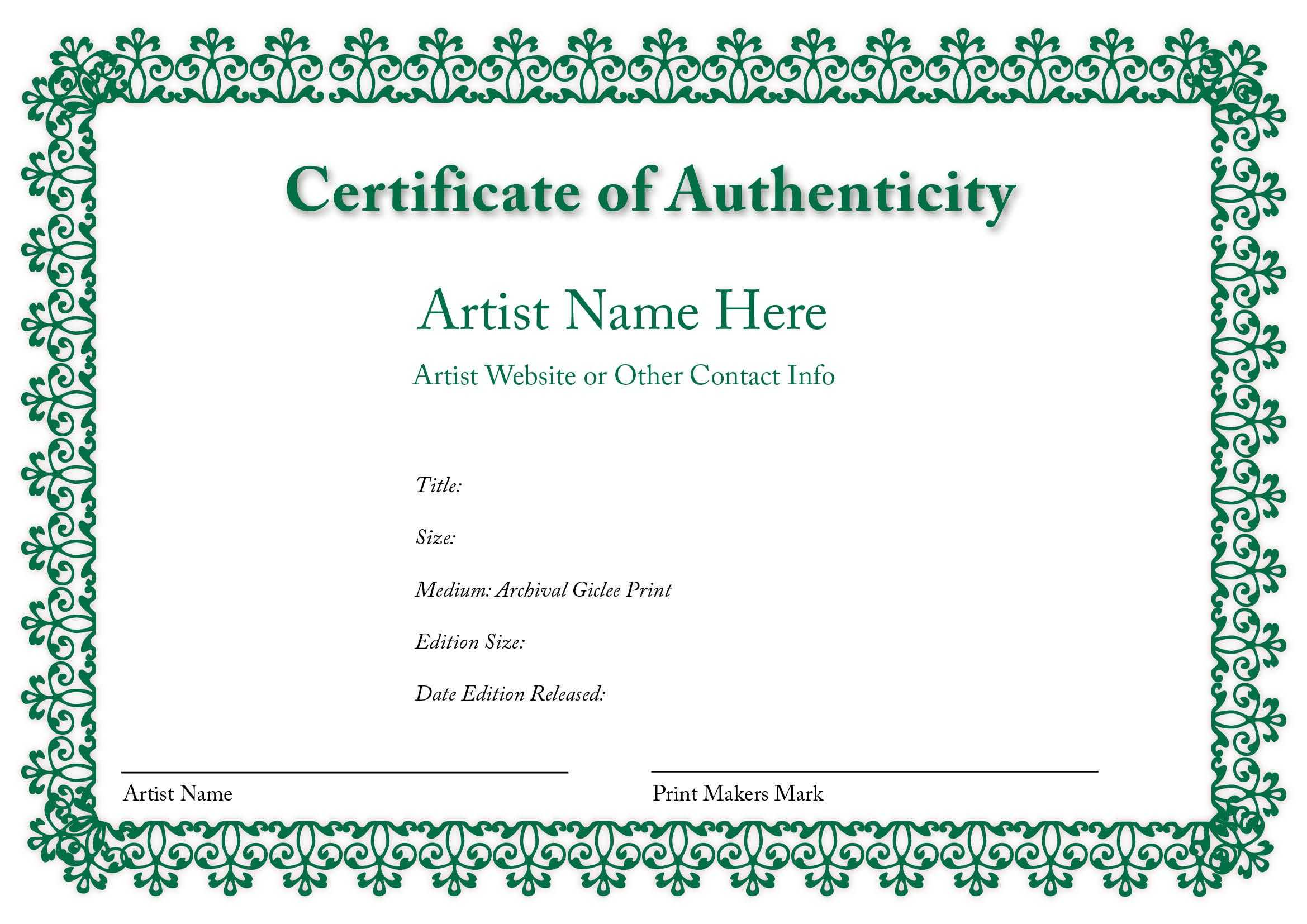 Certificate Of Authenticity Of An Art Print In 2019 With Photography Certificate Of Authenticity Template