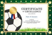 Certificate Of Excellence Template In Sport Theme For Football.. with Football Certificate Template