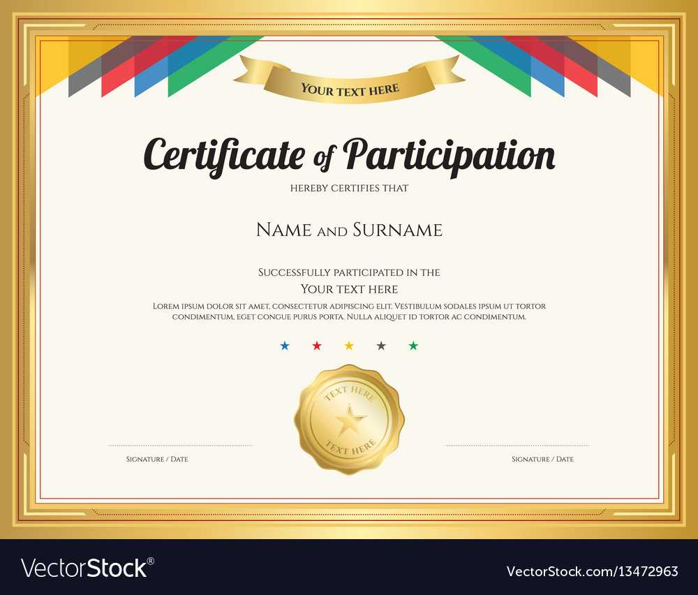 Certificate Of Participation Template With Gold With Regard To Certification Of Participation Free Template
