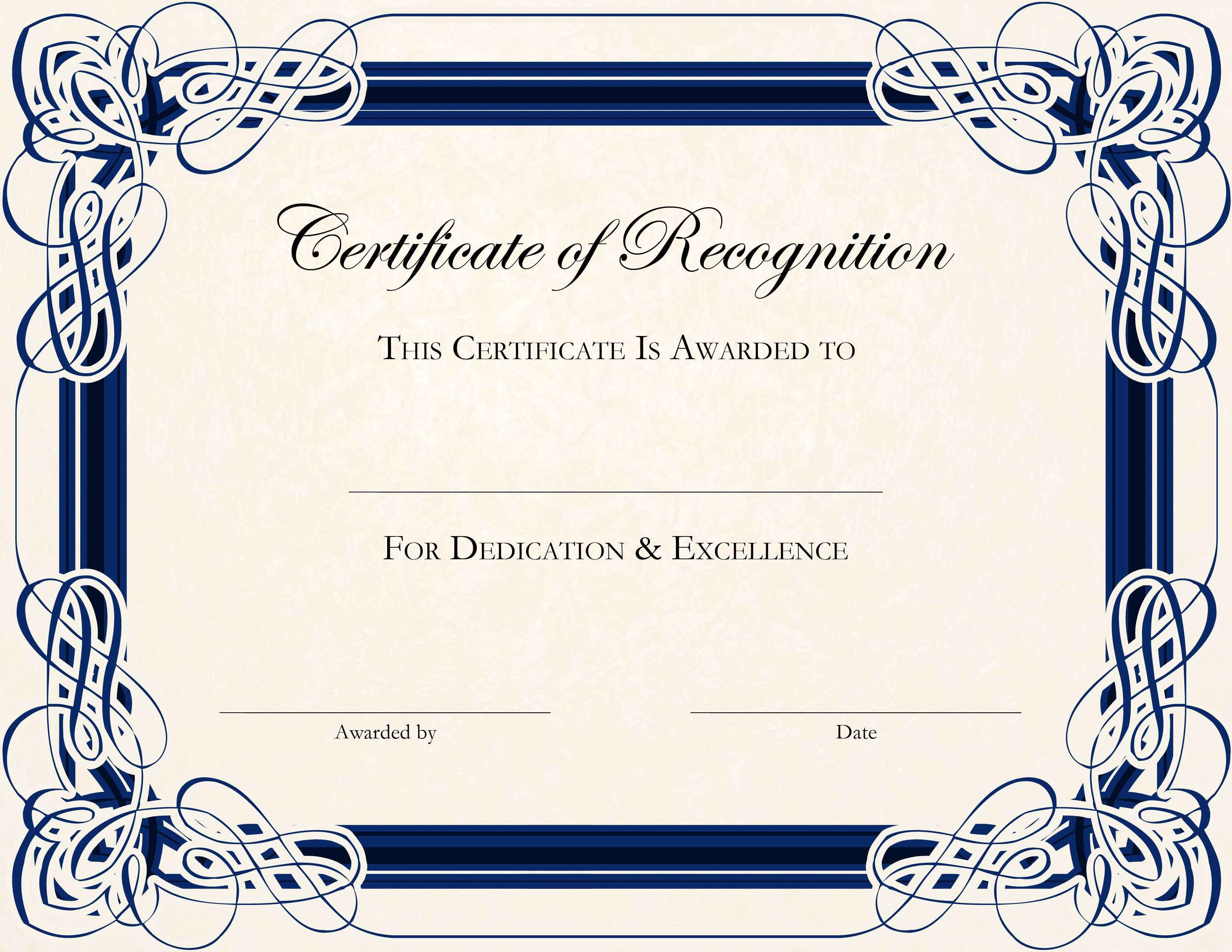 Certificate Template Designs Recognition Docs | Blankets Throughout Sample Certificate Of Recognition Template