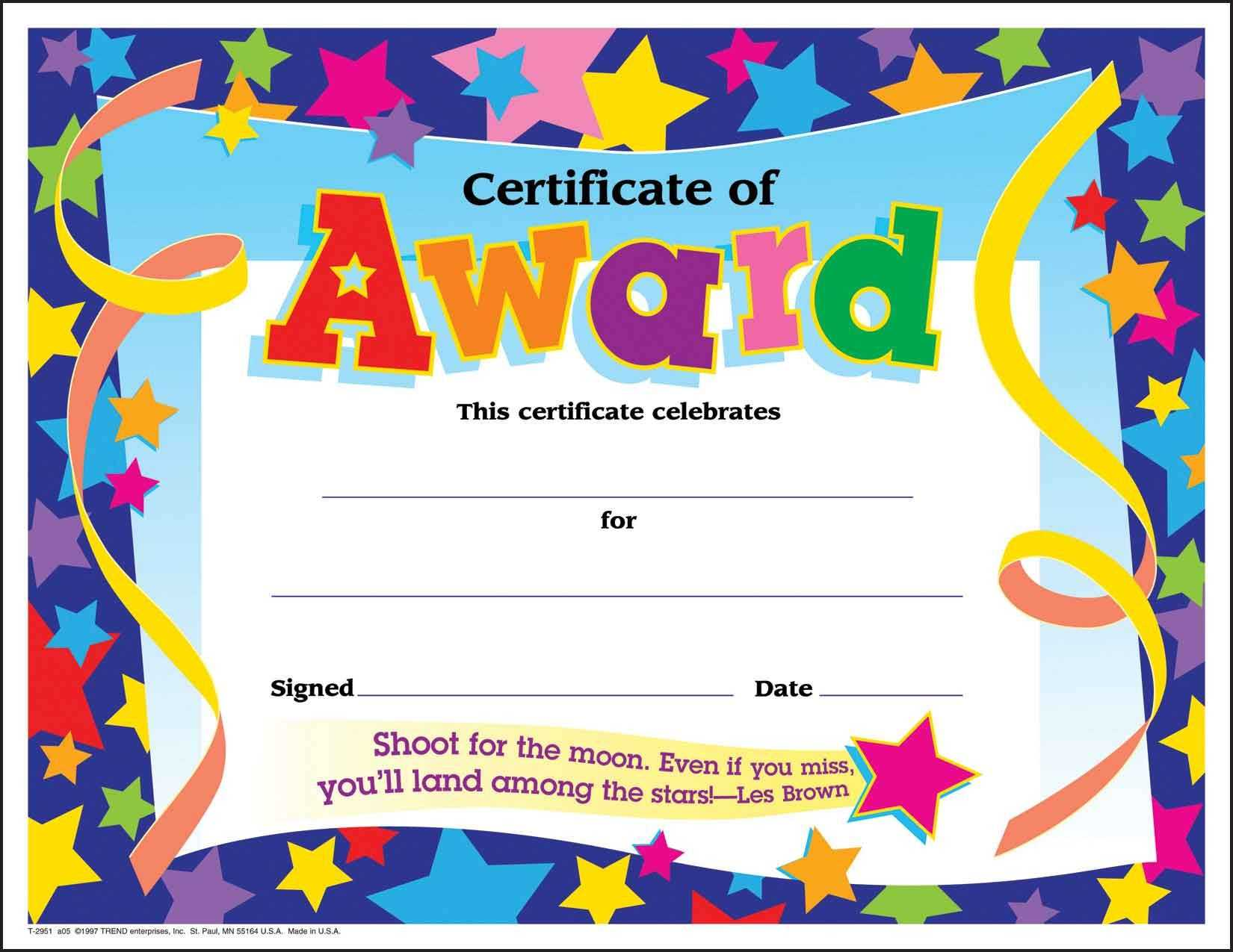 Certificate Template For Kids Free Certificate Templates With Certificate Of Achievement Template For Kids
