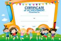 Certificate Template With Children And School Bus with regard to Certificate Of Achievement Template For Kids