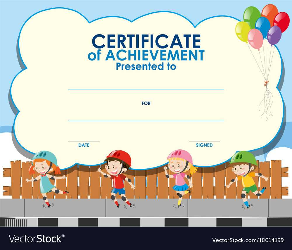 Certificate Template With Kids Skating Throughout Free Kids Certificate Templates