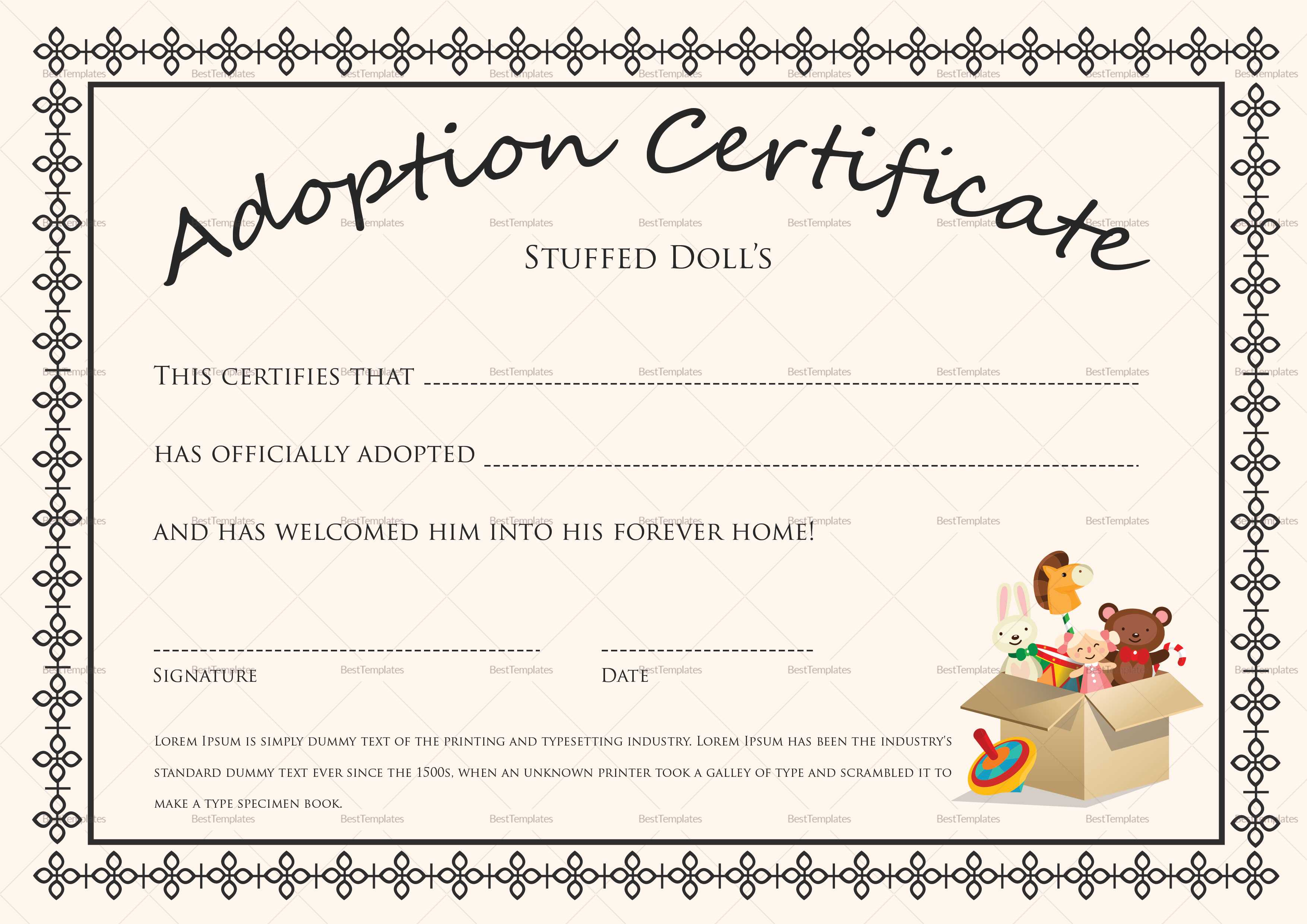 Certificate Templates: Doll Adoption Certificate Design With Regard To Adoption Certificate Template