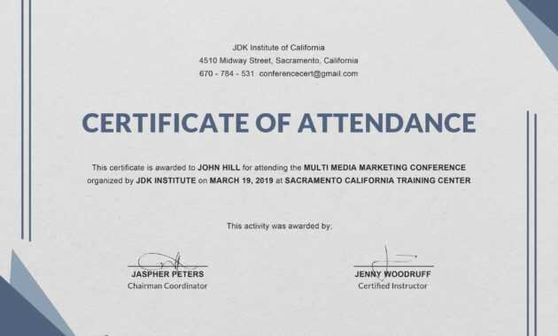 Certificate Templates: Free Conference Attendance regarding Certificate Of Attendance Conference Template