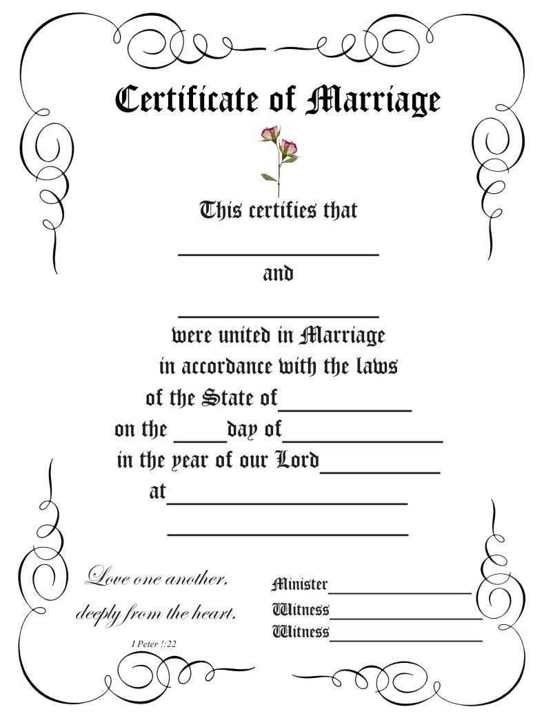 Certificate Templates: Marriage Certificate Template California Pertaining To Blank Marriage Certificate Template