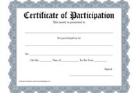 Certificate Templates: Workshop Participation Certificate regarding Certificate Of Participation Word Template
