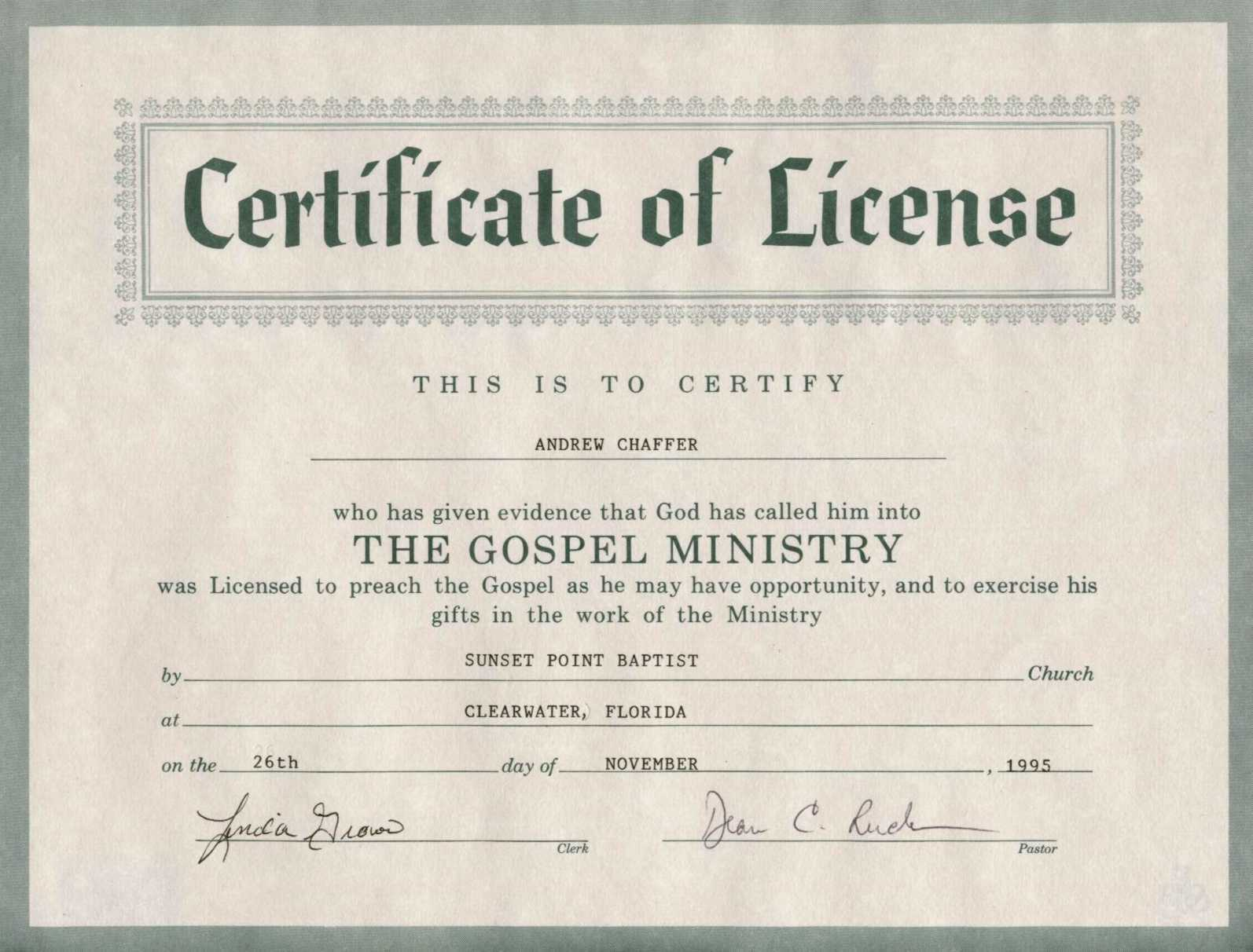 Certificates: Captivating Minister License Certificate Throughout Certificate Of License Template