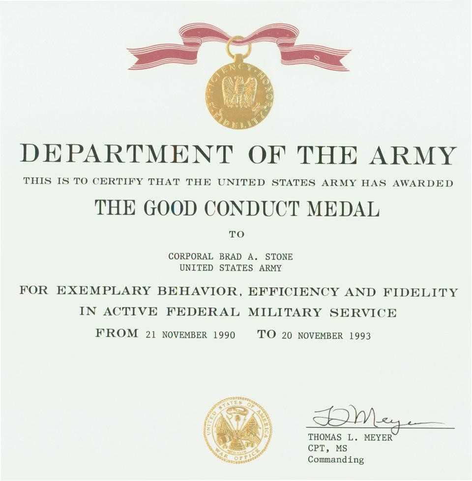 Certificates: Wonderful Good Conduct Certificate Template For Army Good Conduct Medal Certificate Template
