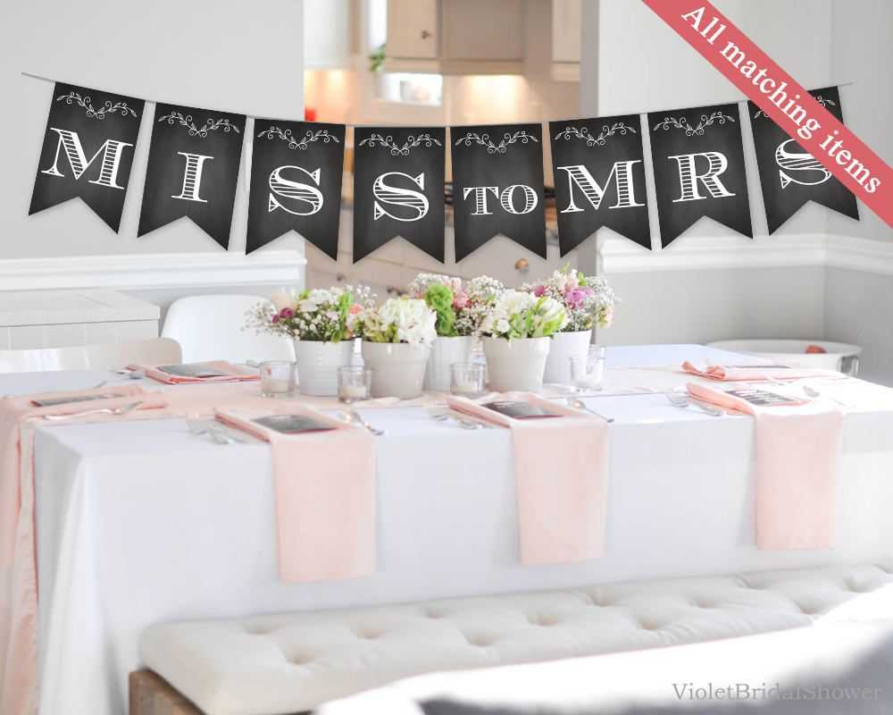 Chalkboard Bridal Shower Banner Template. Printable Bridal Pertaining To Bridal Shower Banner Template