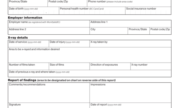 Chiropractor's X-Ray Report (Form 11Rc) with regard to Chiropractic X Ray Report Template