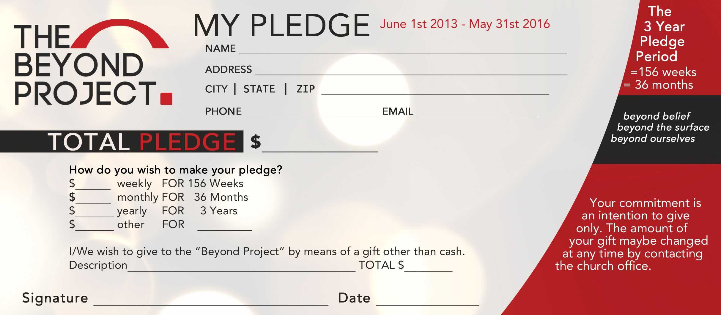Church Pledge Form Template Hausn3Uc | Capital Campaign Throughout Pledge Card Template For Church