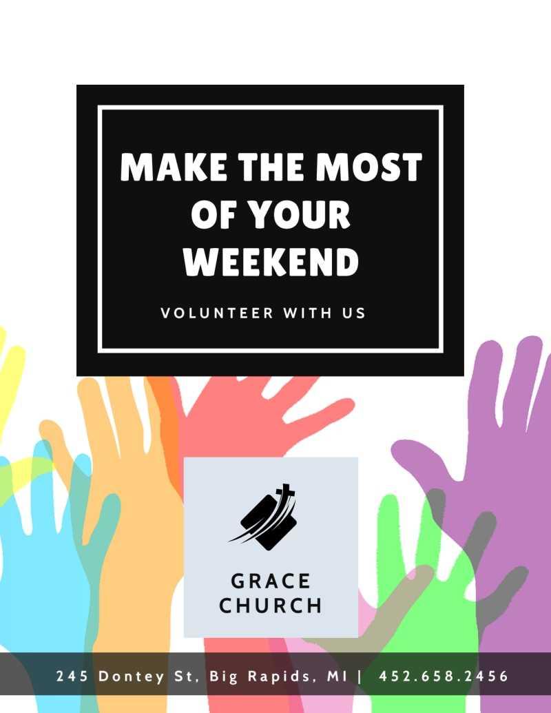 Church Weekend Volunteer Opportunities Flyer Template Inside Volunteer Brochure Template