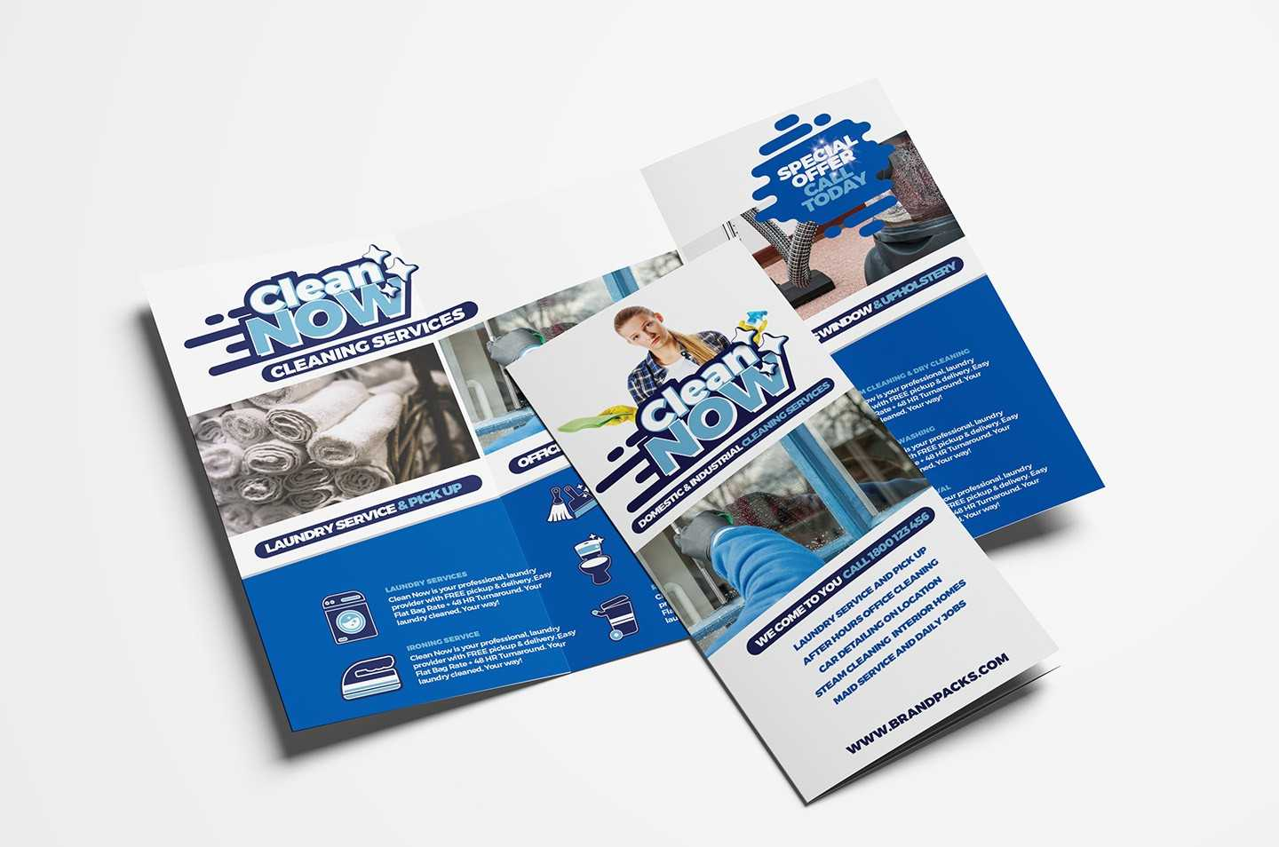 Cleaning Service Trifold Brochure Template In Psd, Ai Throughout Cleaning Brochure Templates Free