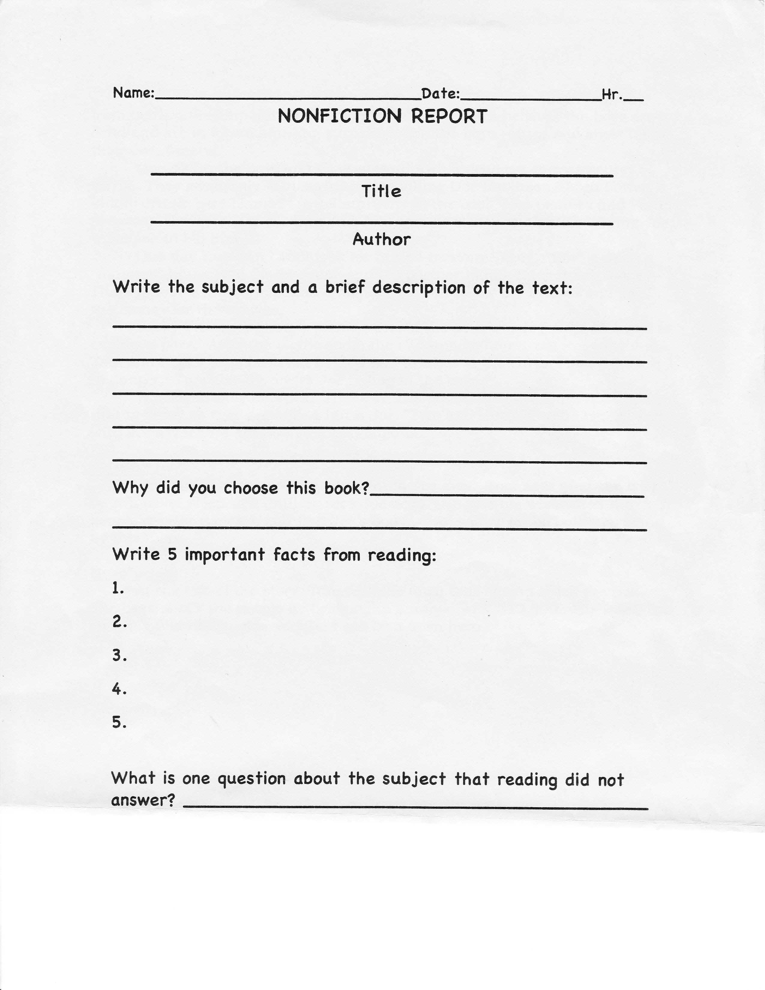 College Book Report Template Non Fiction The 15 Reasons Inside College Book Report Template
