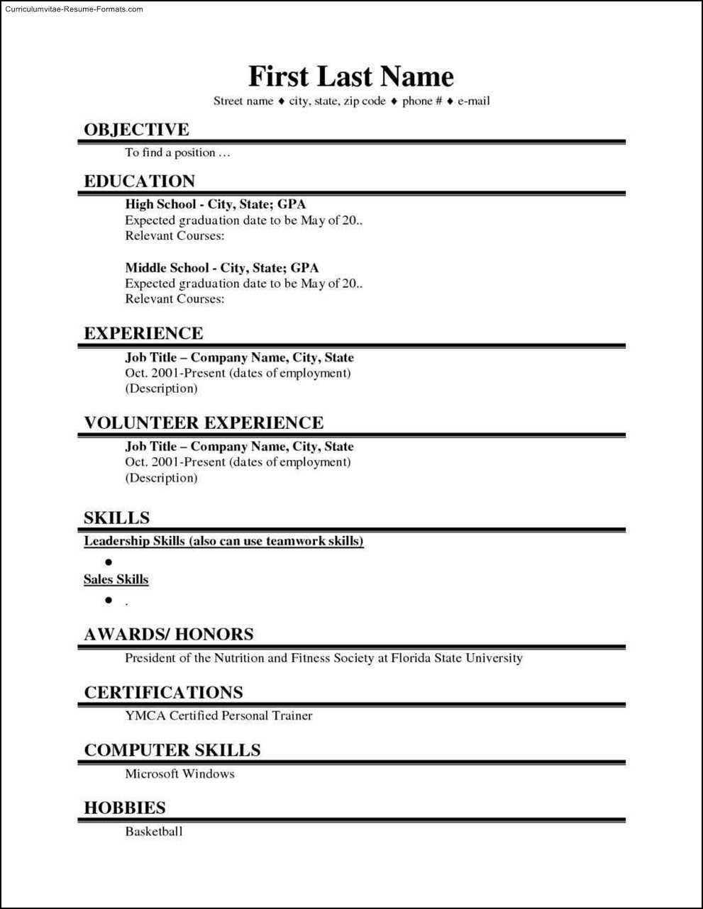 College Student Resume Template Microsoft Word Free Sample In Free Basic Resume Templates Microsoft Word