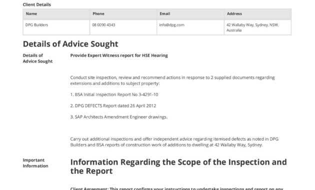 Construction Expert Witness Report Example And Editable Template intended for Expert Witness Report Template