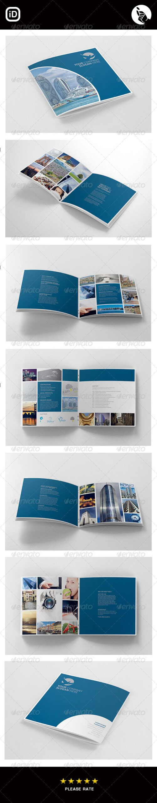 Corporate Square 12 Page Brochure - Corporate Brochures throughout 12 Page Brochure Template