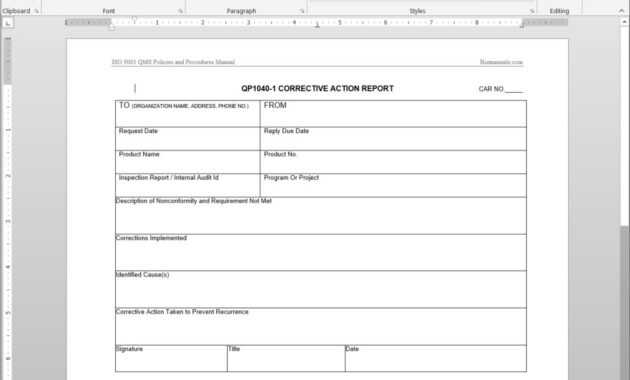 Corrective Action Report Iso Template | Qp1040-1 with Corrective Action Report Template