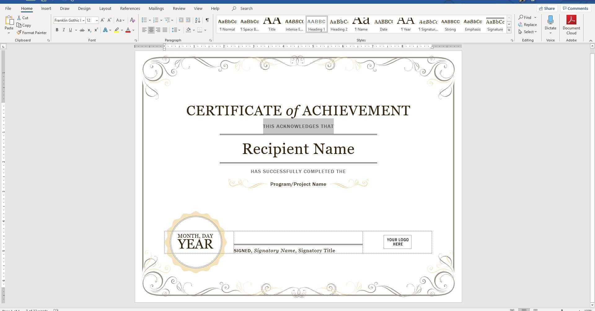 Create A Certificate Of Recognition In Microsoft Word Regarding Word 2013 Certificate Template