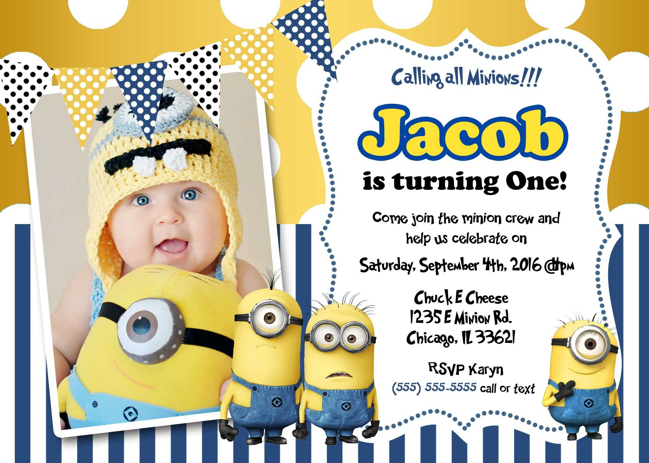 Create Own Minion Birthday Invitations Templates For Create For Minion Card Template