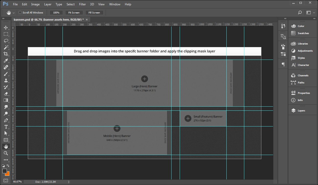 Creating Banner Images Using A Template – Documentation For For Adobe Photoshop Banner Templates