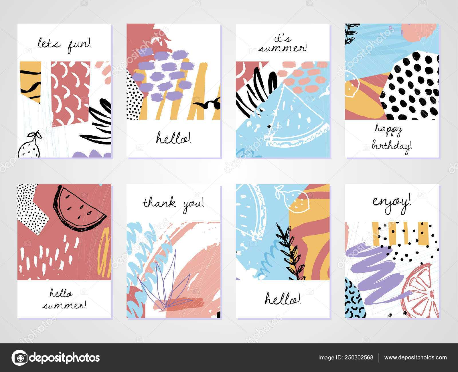 Creative Tropical Summer Cards Trendy Style Collage Hand Throughout Birthday Card Collage Template