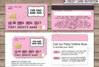 Credit Card Invitations Template – Pink regarding Credit Card Template For Kids