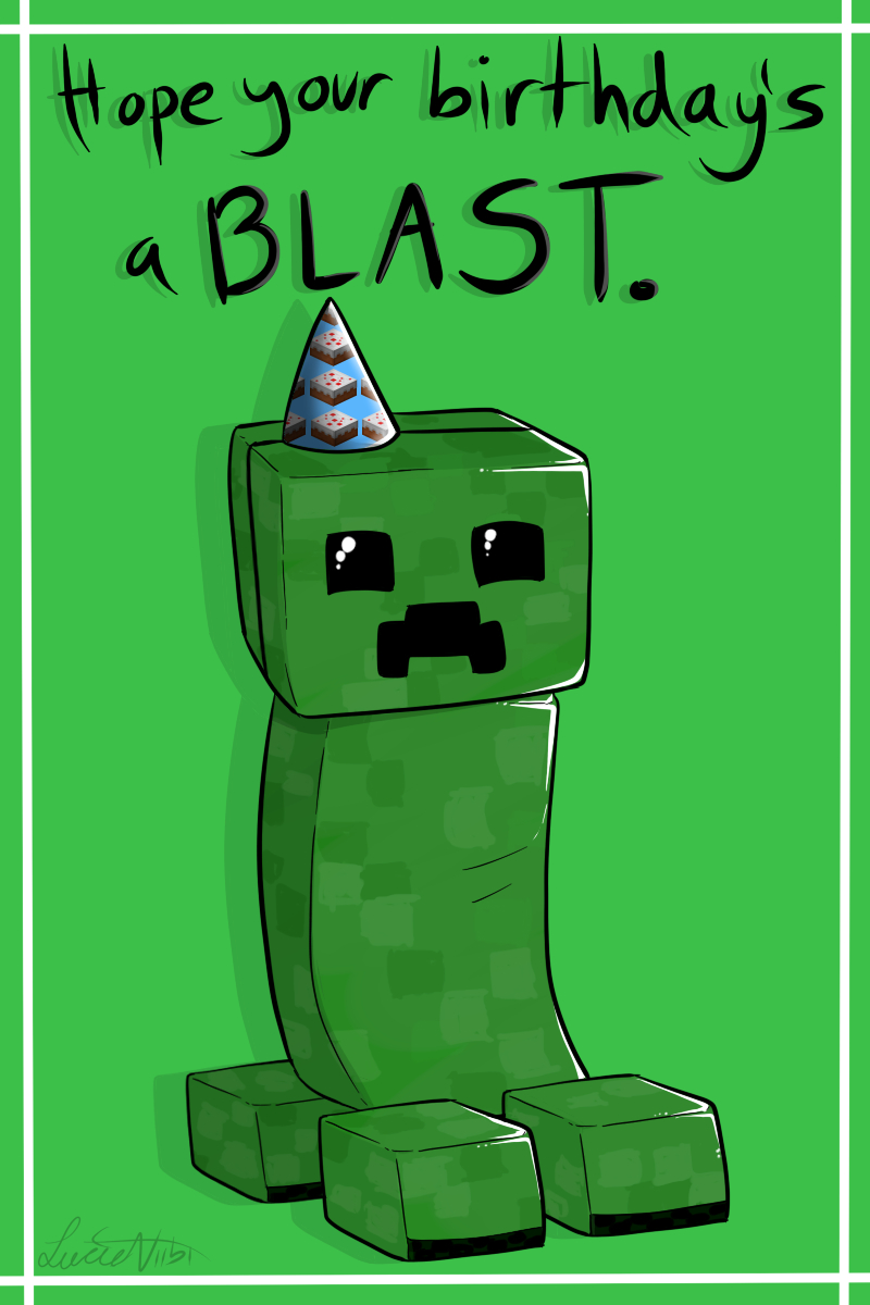 Creeper Birthday Cardlucieniibi.deviantart On Pertaining To Minecraft Birthday Card Template