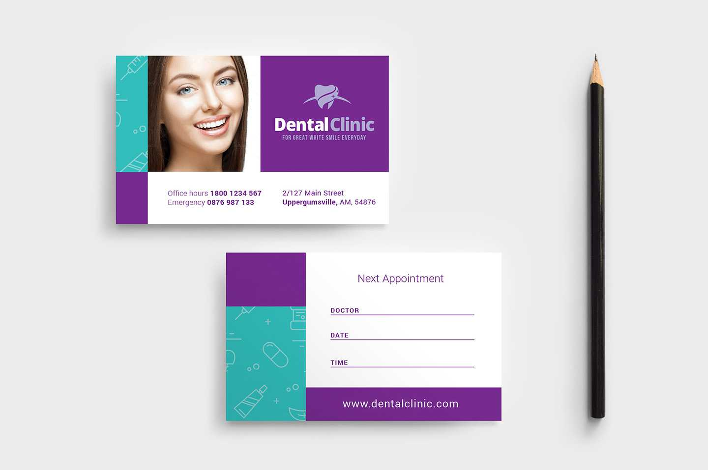 Dental Clinic Appointment Card Template In Psd, Ai & Vector For Dentist Appointment Card Template