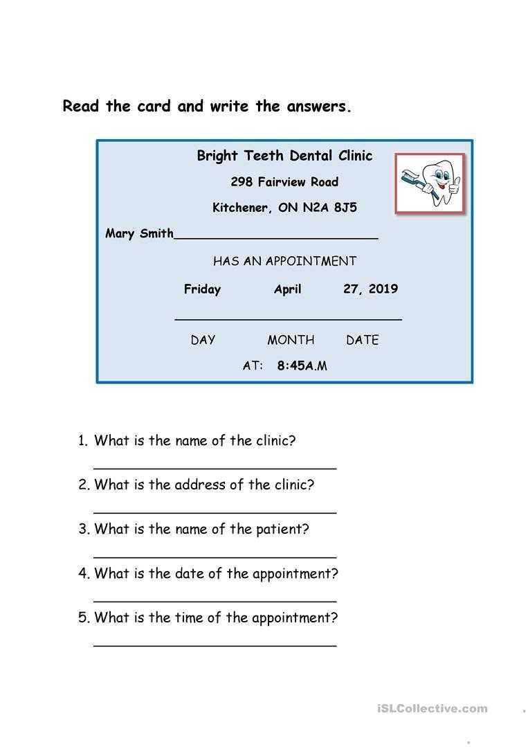 Dentist Appointment Card – English Esl Worksheets Throughout Dentist Appointment Card Template