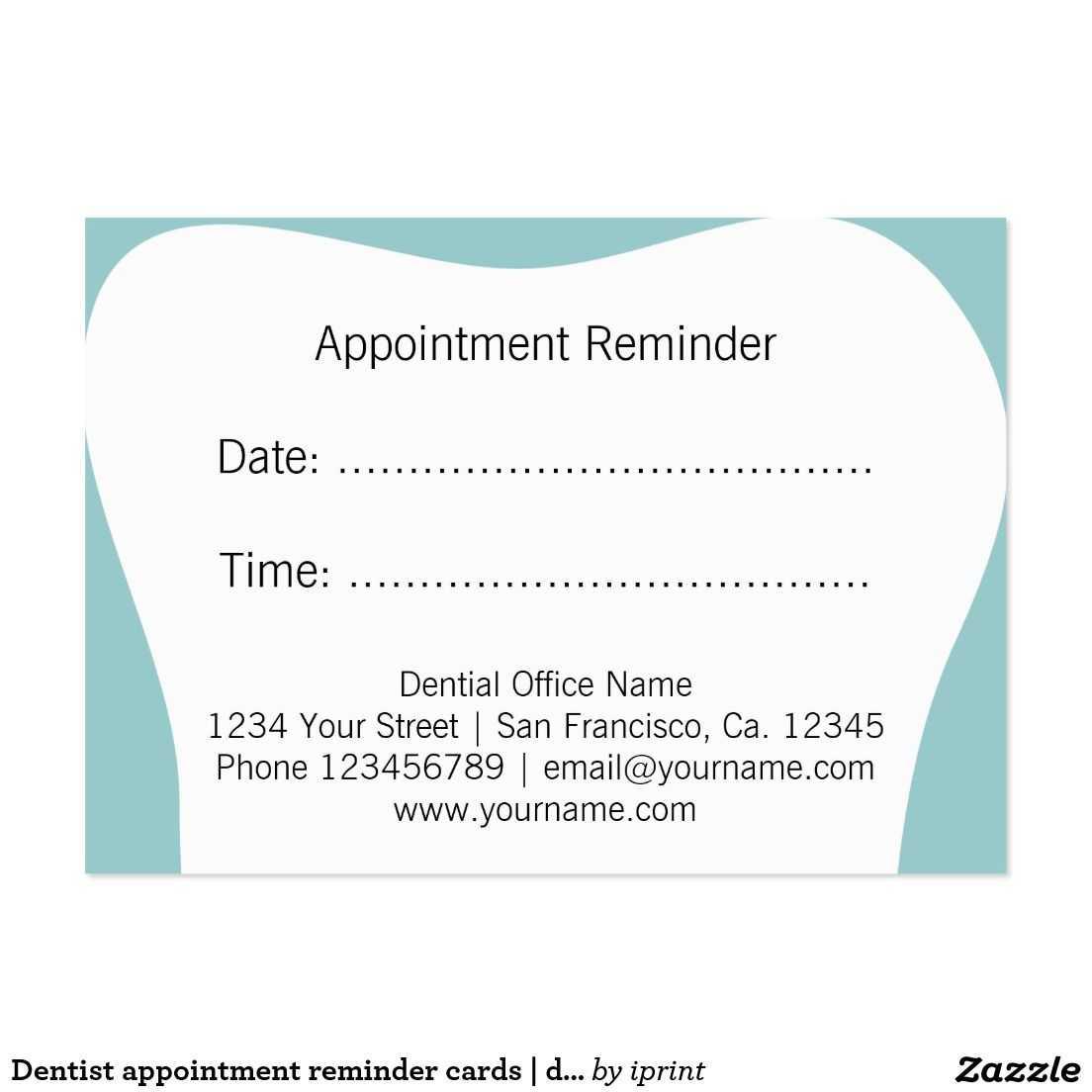 Dentist Appointment Reminder Cards   Dental Office   Zazzle With Dentist Appointment Card Template