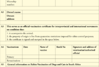 Dentity, Rabies Vaccination And Movement Certificate For for Dog Vaccination Certificate Template
