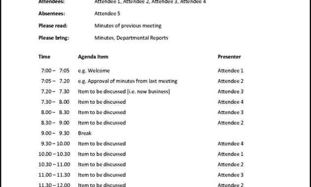 Doc Meeting Agenda Word Template Free Printable Business for Free Meeting Agenda Templates For Word