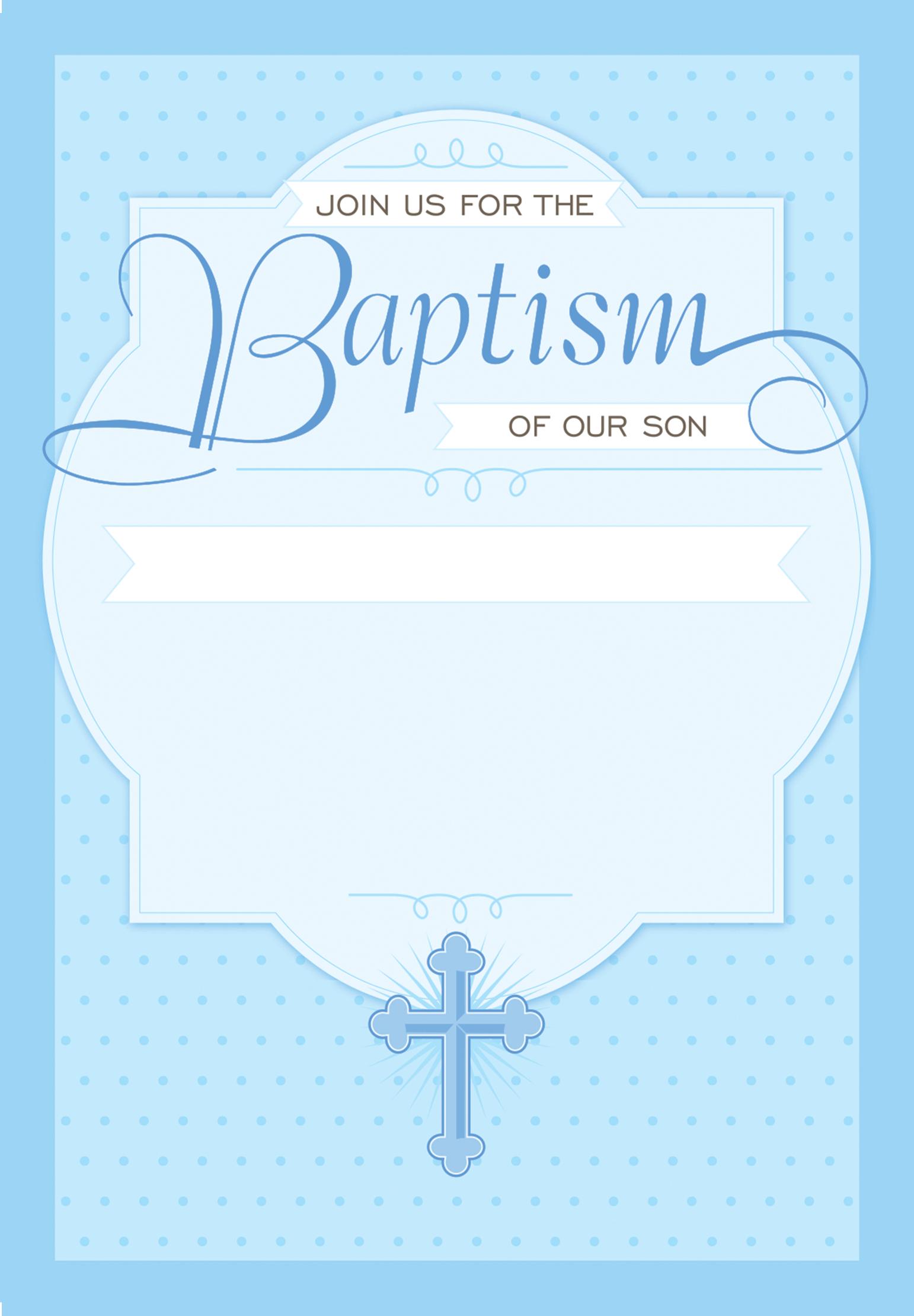 Dotted Blue - Baptism & Christening Invitation Template Throughout Blank Christening Invitation Templates