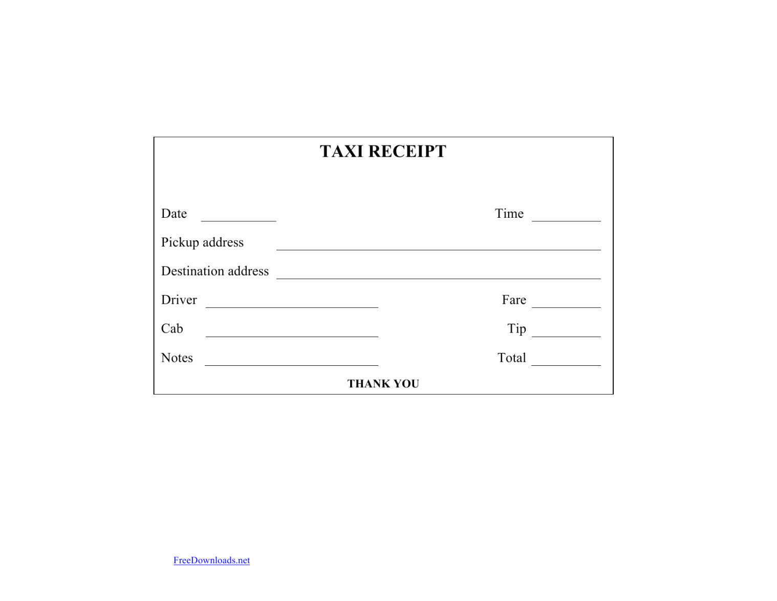 Download Blank Printable Taxi Cab Receipt Template Excel For Blank Taxi Receipt Template