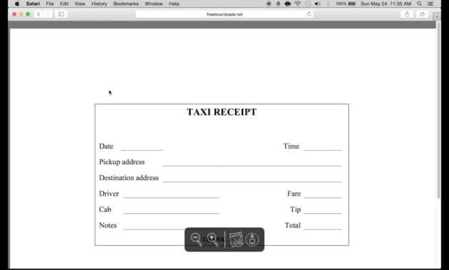 Download Blank Printable Taxi/cab Receipt Template | Excel in Blank Taxi Receipt Template