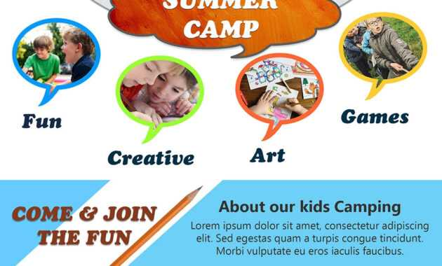 Download Free Kids Summer Camp Flyer Design Templates pertaining to Summer Camp Brochure Template Free Download